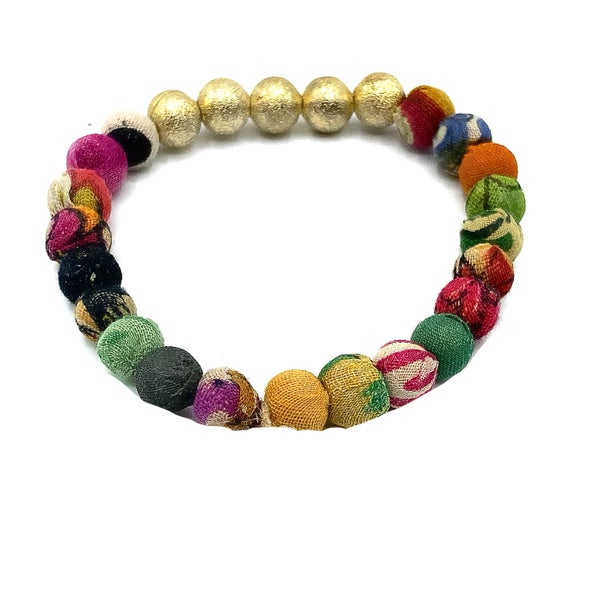 WORLD FINDS - Gold Shine and Artsy Fabric Beaded Bracelet