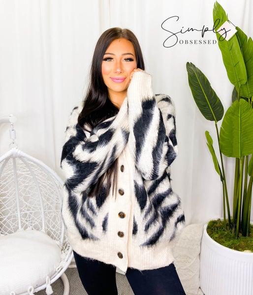 Cardigan sweater Zebra print