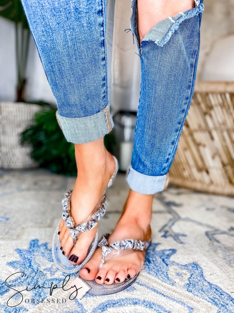 Wild Diva - Jeweled Jelly Slide Flip Flops