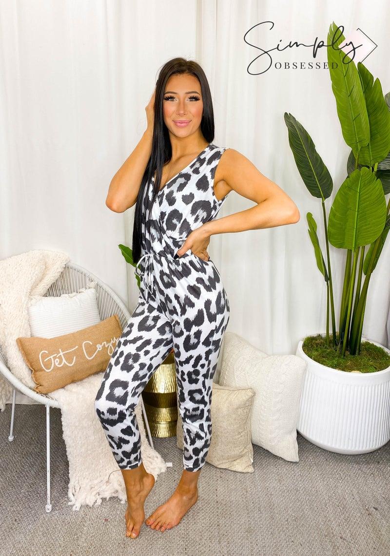 Peach Love California - Sleeveless surplice front leopard print jumpsuit