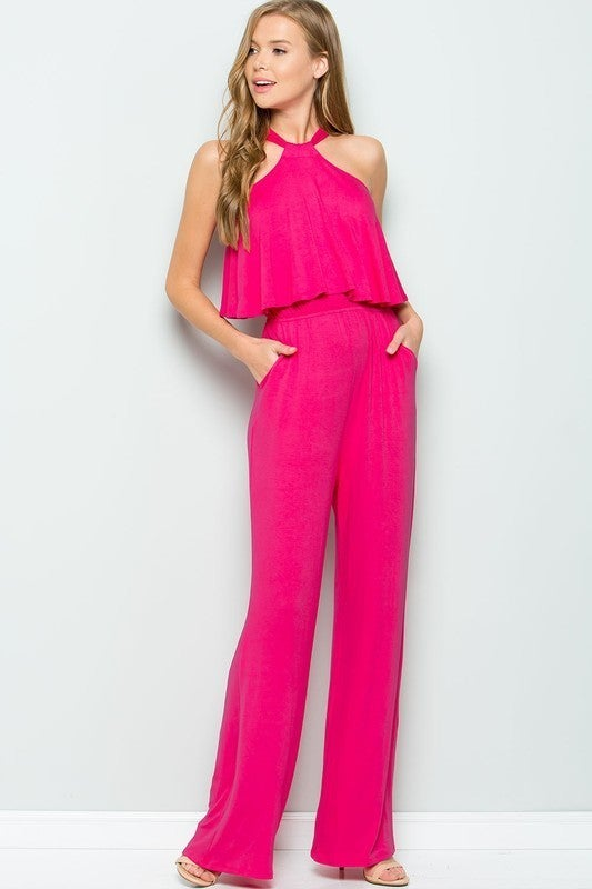 SWEET LOVELY-Halter Back Ties Jumpsuit With Elastic Waist