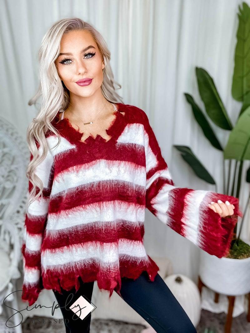 Pol - Long sleeve keyhole detail stripe sweater