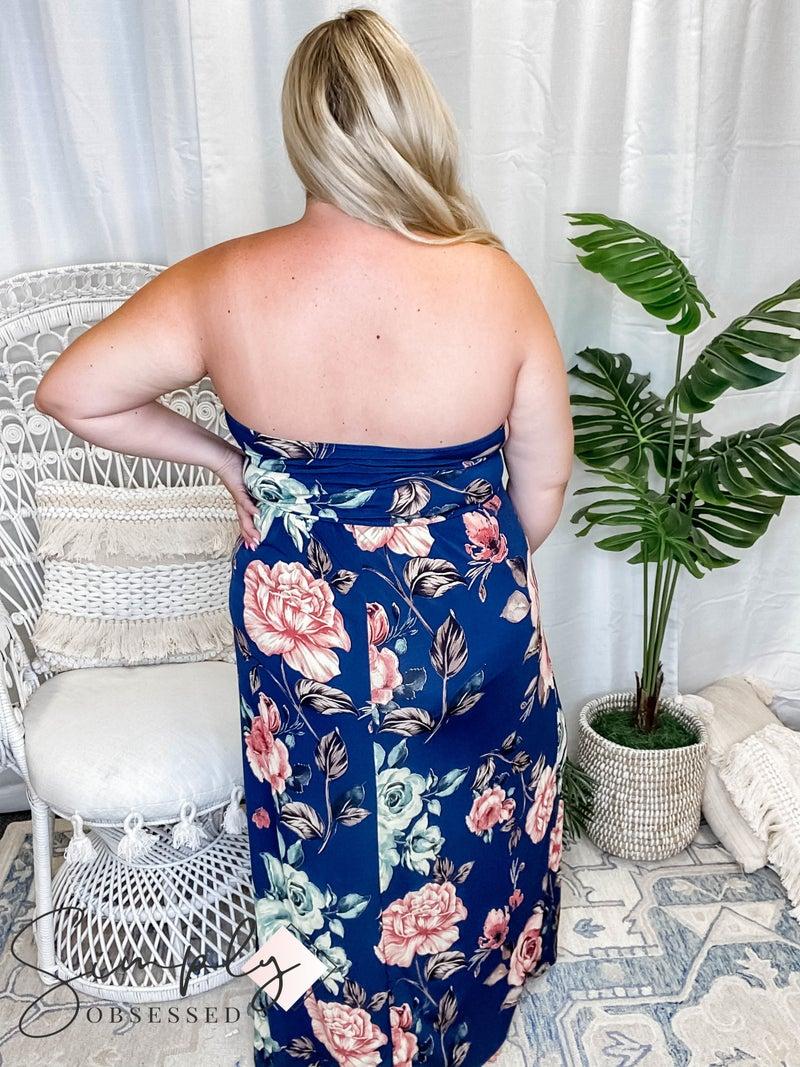 Vanilla Bay - Tube Top Floral Print Knit Maxi Dress