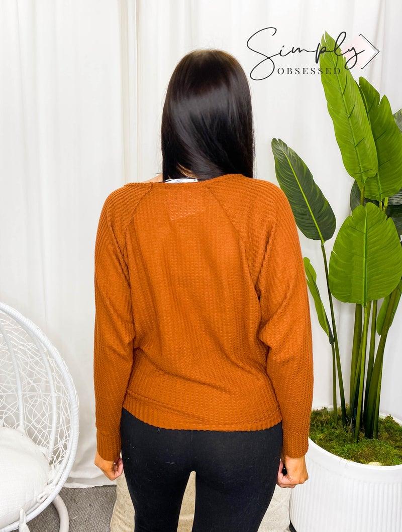 Hyfve - Raglan long sleeve raw edge v neck top