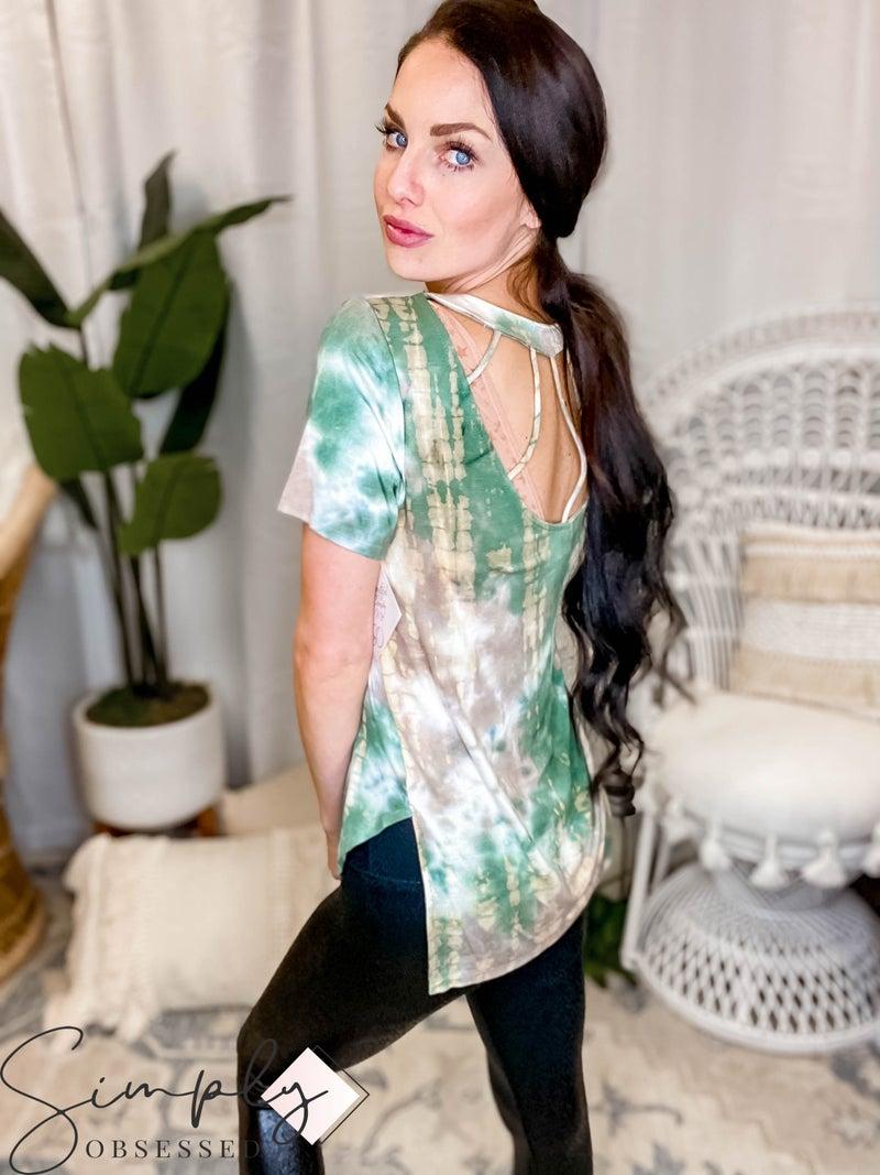 CY Fashion - Tie Dye Cage Back Top