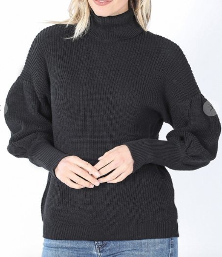 Puff sleeve turtle neck sweater