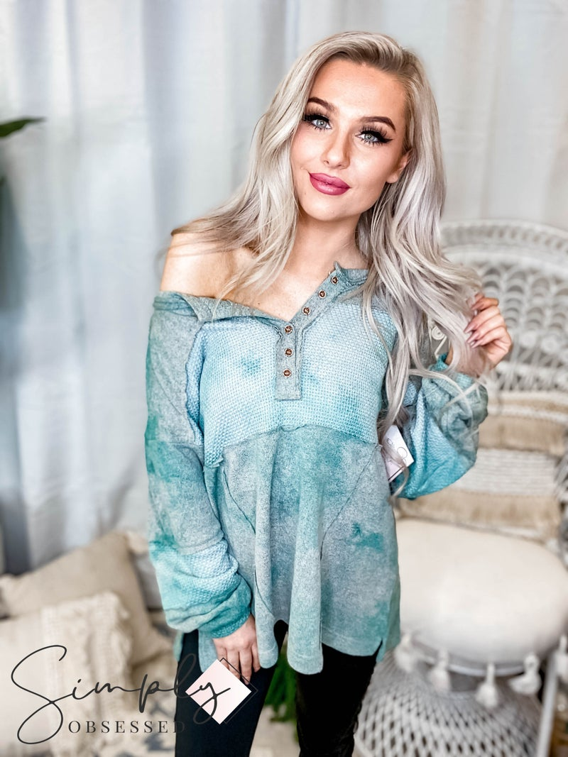 Pol - Round neck button detail long sleeve top