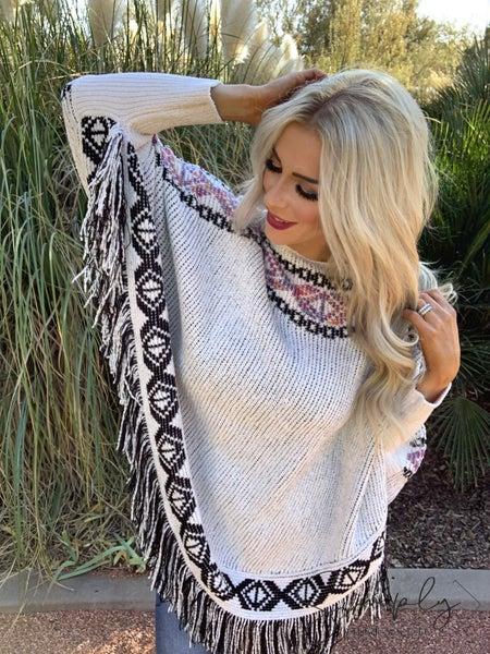Adora - Round neck knit long sleeve cap poncho