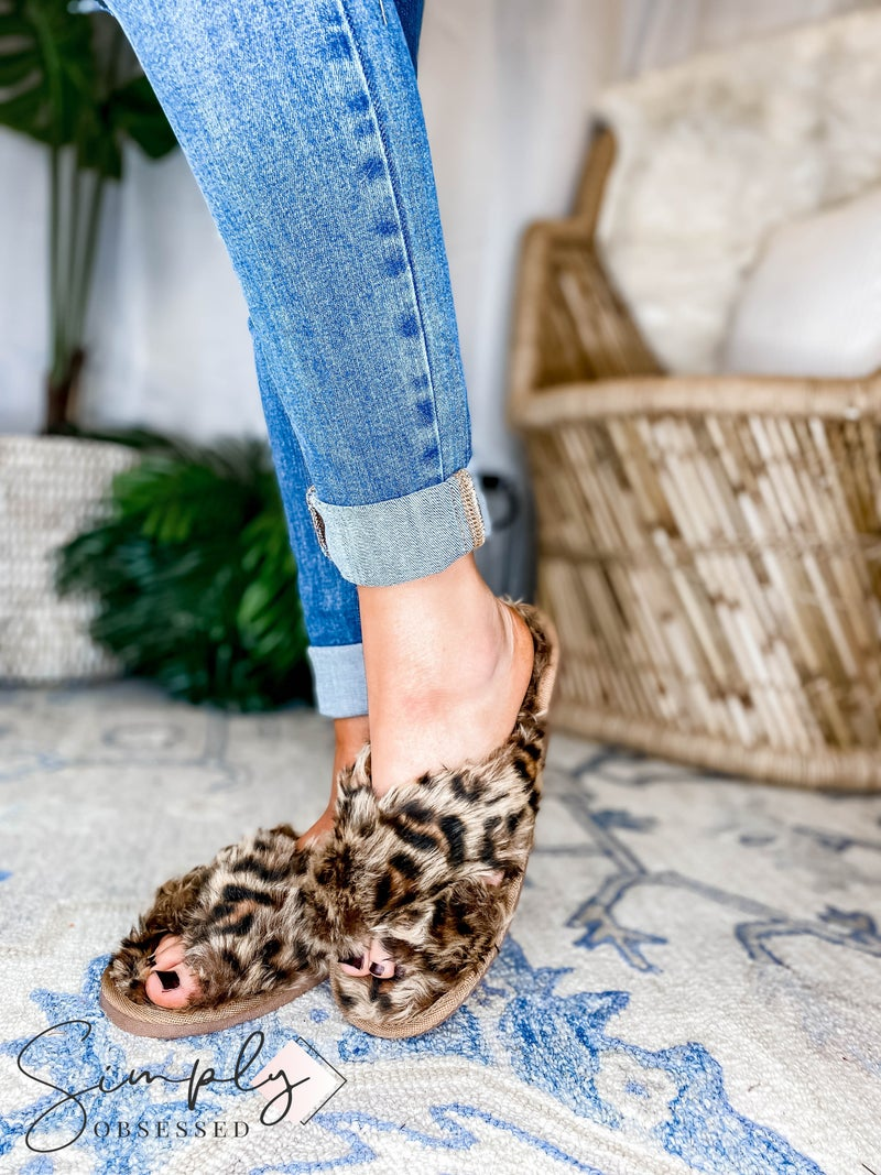 Corkys - Criss cross strap fuzzy slippers