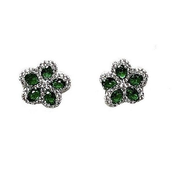 Spinel & CZ Flower Design Studded Earrings