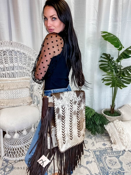 American Darling - Chevron Cowhide Over the Shoulder Bag W/Flap and Fringe