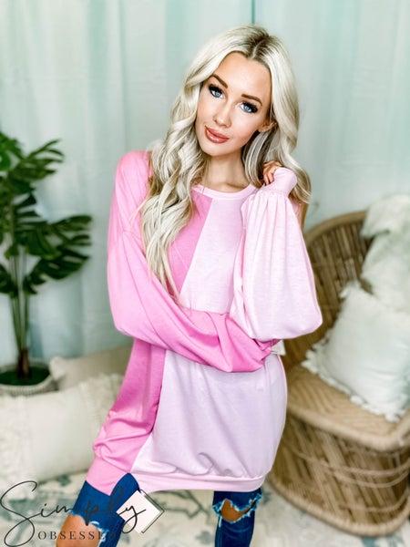 Fantastic Fawn - Long sleeve color block sweatshirt mini dress
