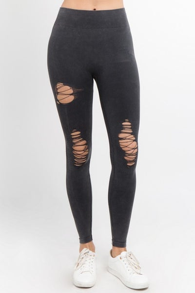 Yelete - Distressed vintage washed leggings