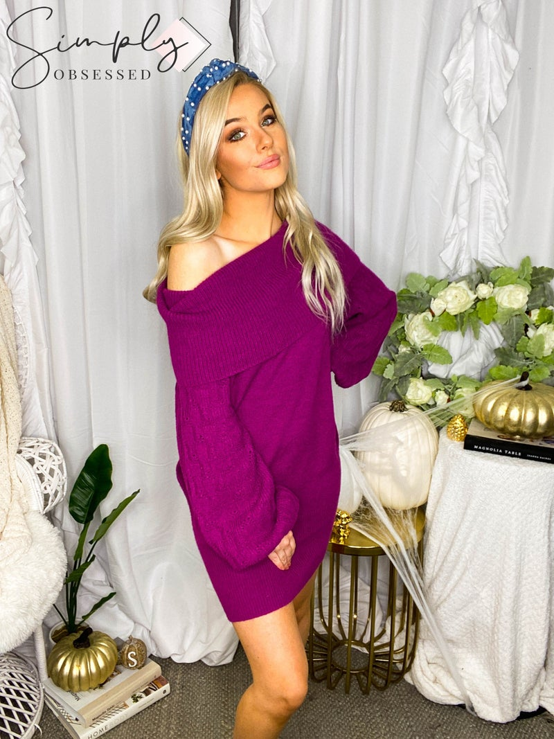 Eesome - Off the shoulder knit sweater dress