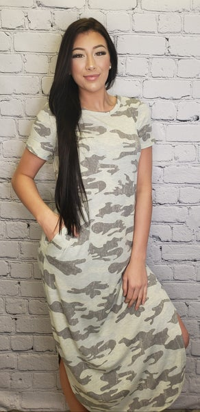 Oddi - Short sleeve camo knit maxi dress(plus)