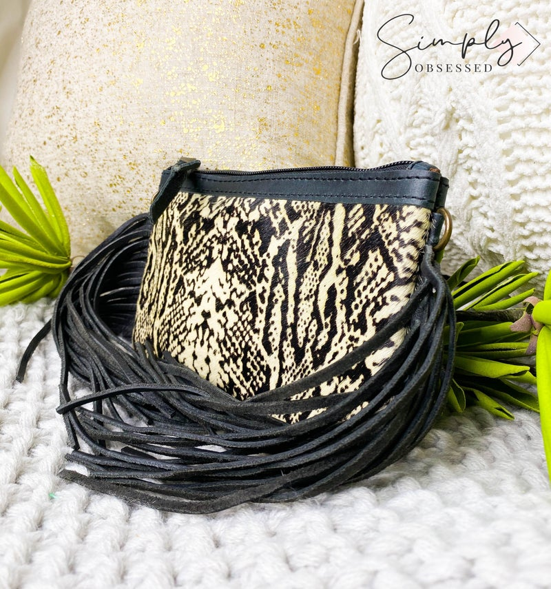 American Darling - Snake print tassel detail small cross body bag