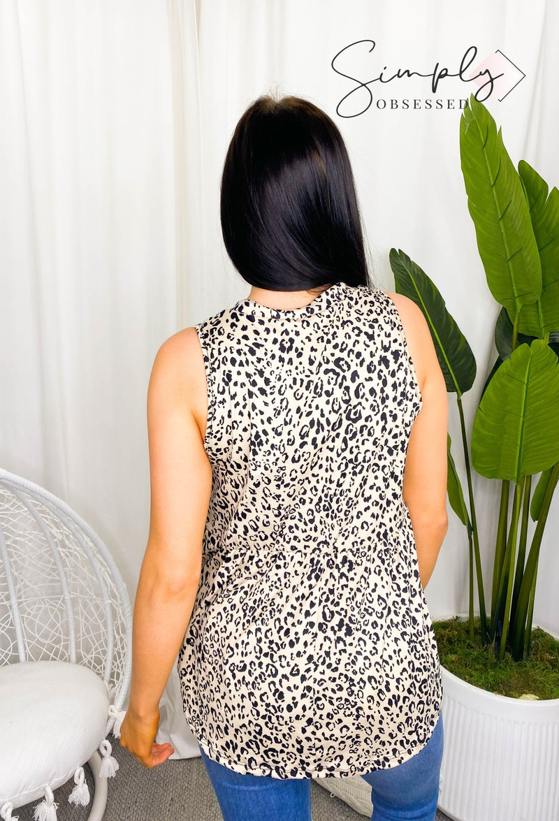 Sew In Love - Sleeveless animal print knit top