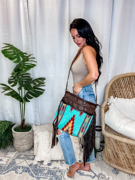 American Darling - Hand Carved Aztec Crossbody w/Fringe Detail