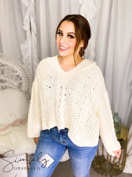POL - Oversized soft knit hooded sweater