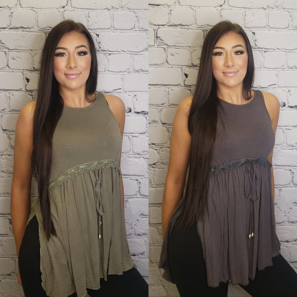 Charcoal sleeveless crochet detailed babydoll top with waist drawstring & side slits