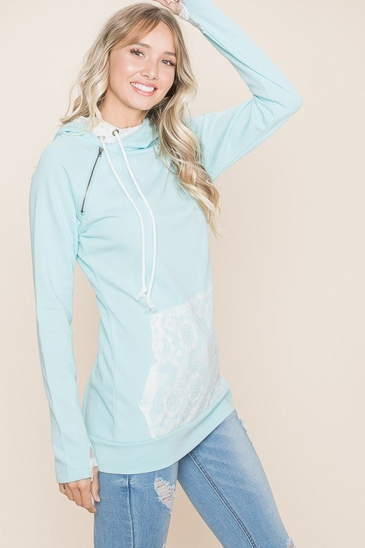Vanilla Bay - Solid knit lace detail double hoodie top