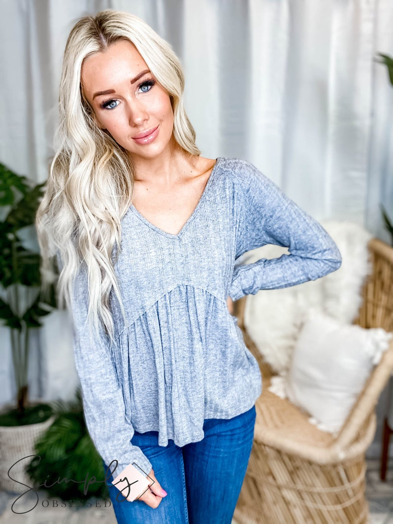 Peach Love California - Solid V Neckline Long Sleeve Knit Top