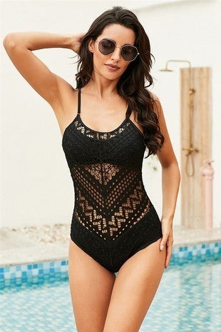 Crochet Lace Halter Straps One-piece Swimsuit