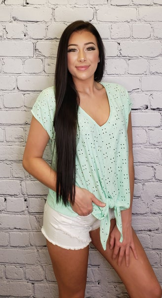 GeeGee- Eyelet solid knit top