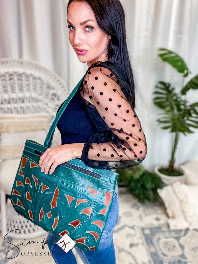 LEADERS IN LEATHER -  Leather Cutout Tote Zipper Compartments Handtooled