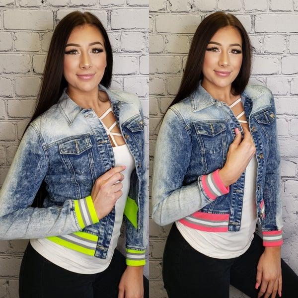 Lizette Collection - Denim jacket with color stripe
