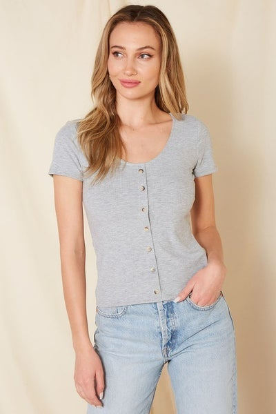 Mittoshop - Ribbed Scoop Neck Top W/ Buttons