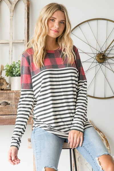 Vanilla Bay - Long sleeve color block plaid and striped top