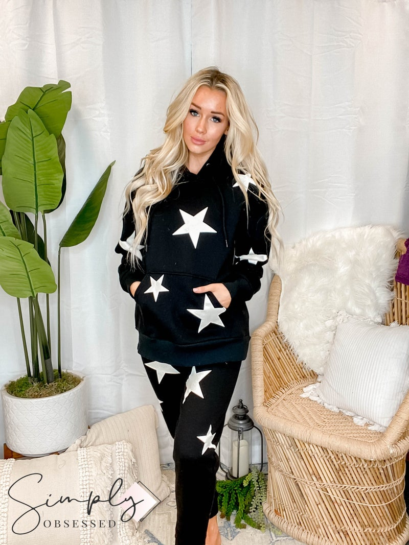 Tossed star hoodie and sweats set