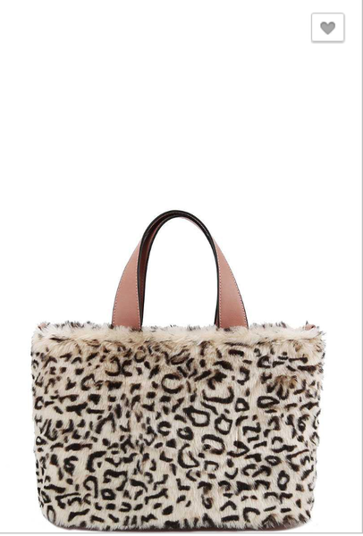 Handbag Republic Classic-Leopard Faux Fur Satchel Faux vegan Fur Faux leather trim