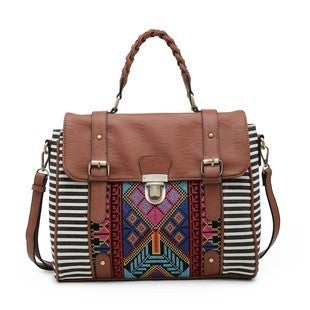 Jen & Co - Aztec embroidered satchel with flap over snap and lock zipper closure. Braided handles and adjustable/detachable shoulder strap