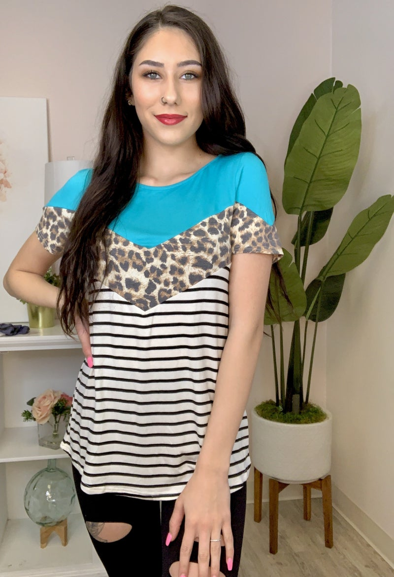 lovely melody- Leopard chevron color block stripe top