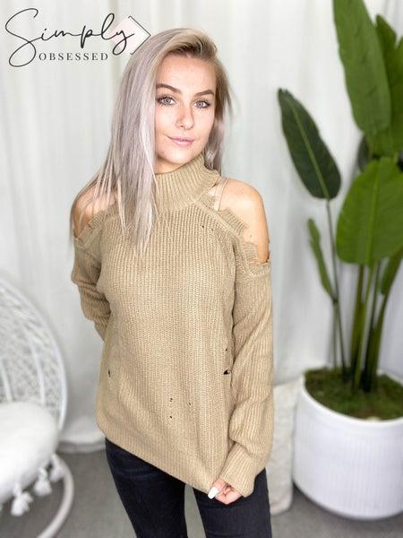 La Miel - Cold Shoulder Distressed Knit Long Sleeve Sweater