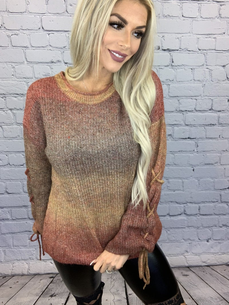 Davi & Dani- Long sleeve washed knit sweater with tie sleeves