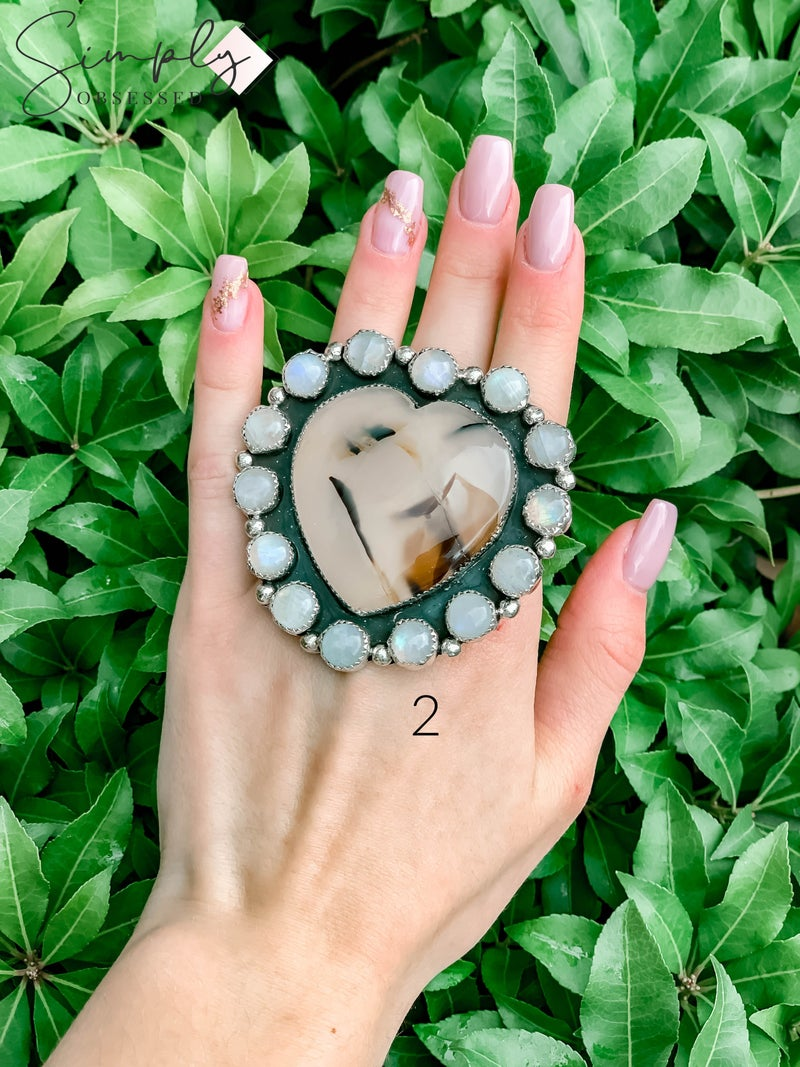 M & S - Montana Agate Heart w/ Moonstone Ring