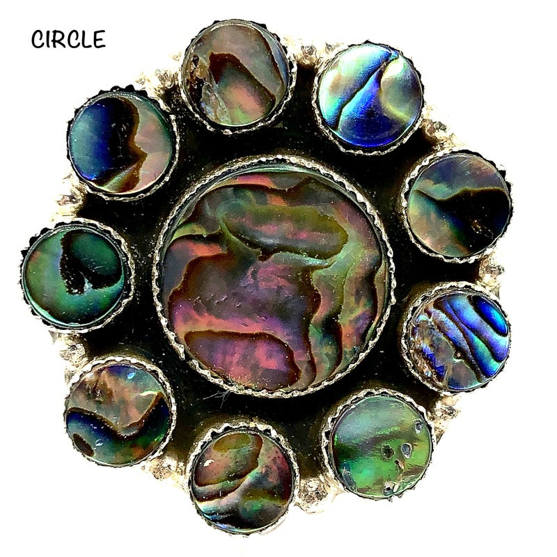 M&S - All Abalone Circle Cluster Ring