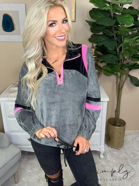 Andree- Soft long sleeve half zip sweatshirt with hidden pocket tastes