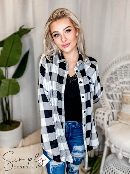 Blumin - Sweatshirt Plaid Buttondown Oversize Top(All Sizes)