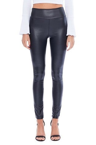 Many Many - Solid Faux Leather High Waist Leggings