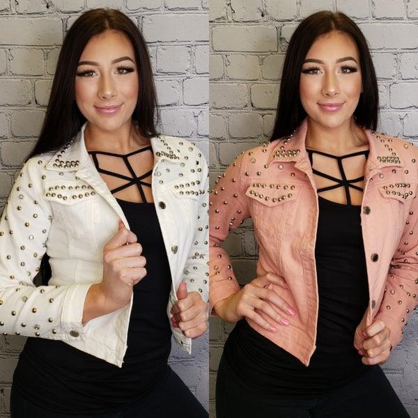 Lizette Collection - Denim jacket with stud detail