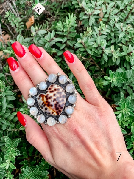 M & S - Cowrie Heart w/ Moonstone Cluster Ring