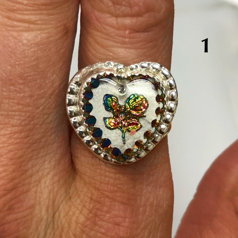 M&S Sterling Silver - Small European English Glitter Heart Rings