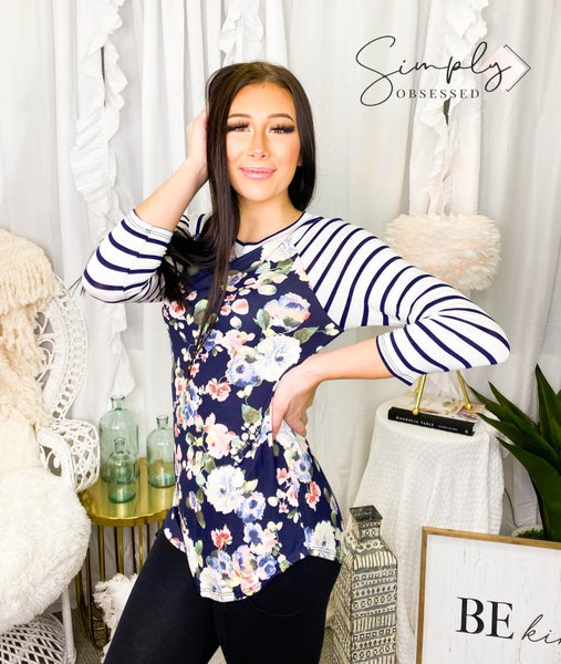 First Look - Long sleeve floral stripe contrast top