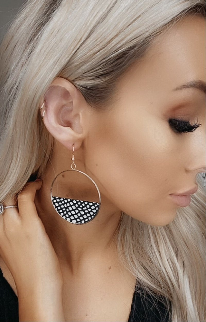 Boho Love - Faux leather detail spotted earring