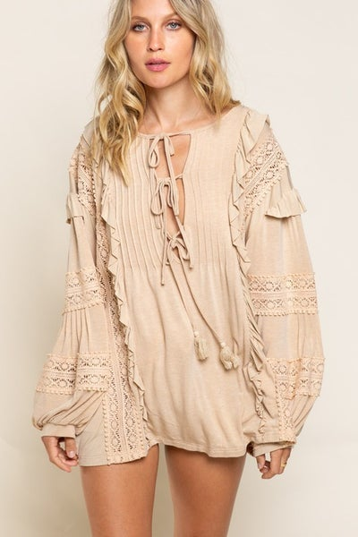 POL - Long sleeve ruffle and crochet detail pleated knit top