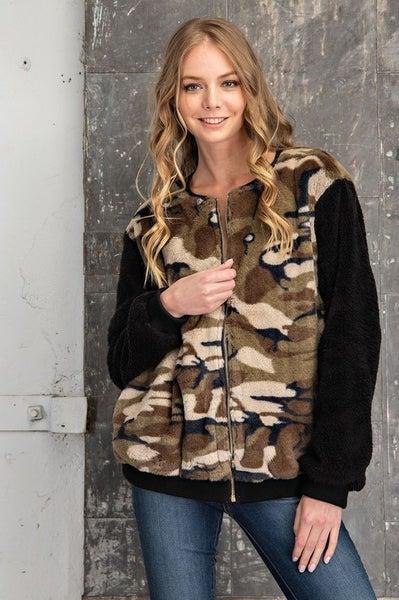 FSL Apparel - Camo print faux fur bomber jacket